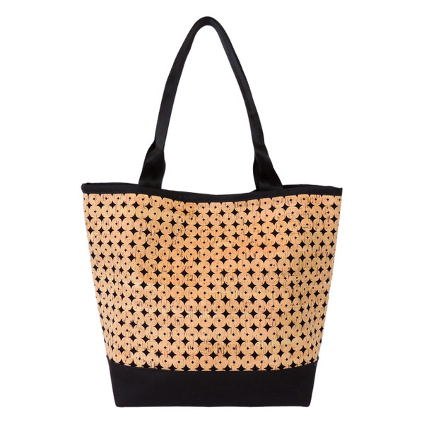 Signature Tote in Black Cork Dots