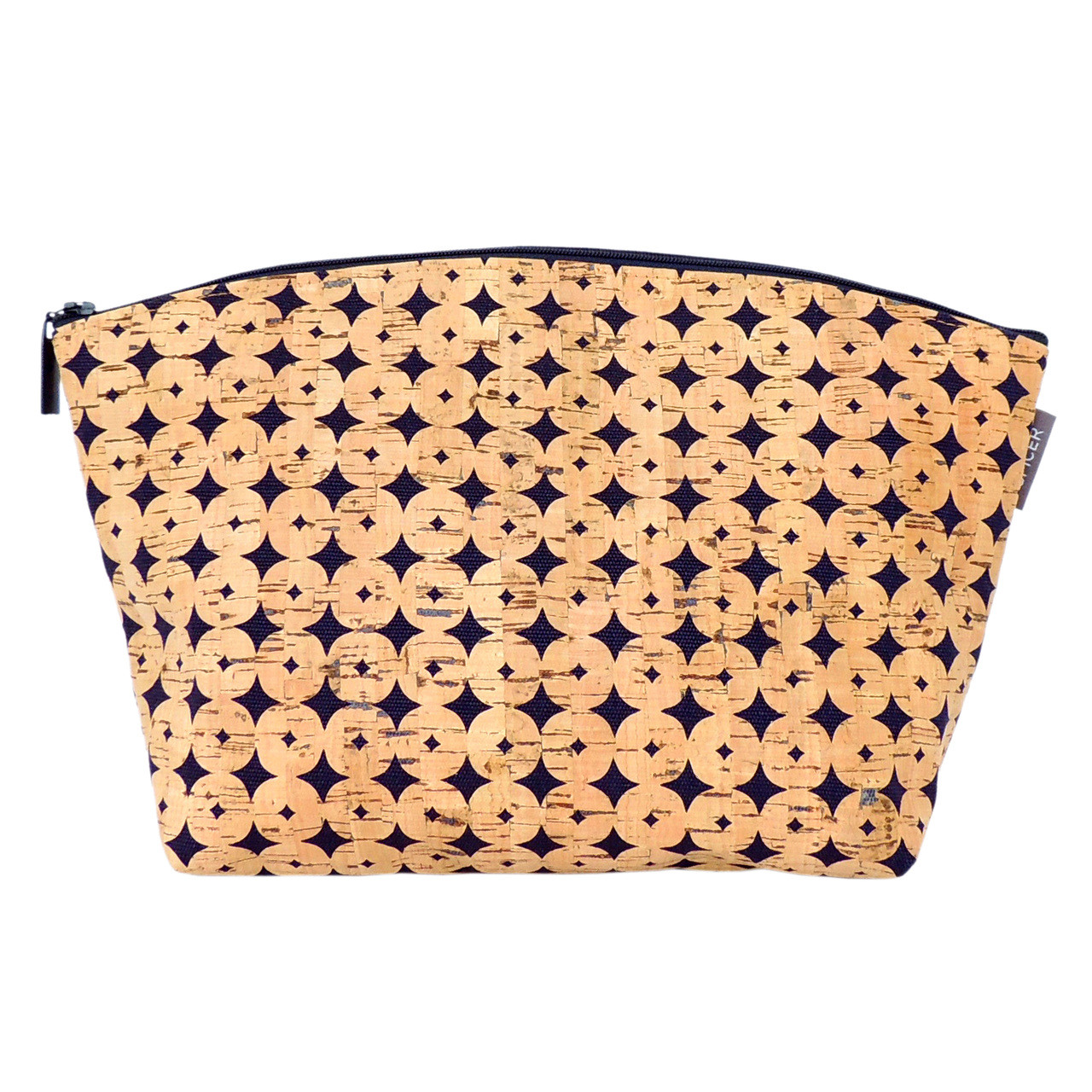Extra Large Standing Pouch in Navy Cork Dots