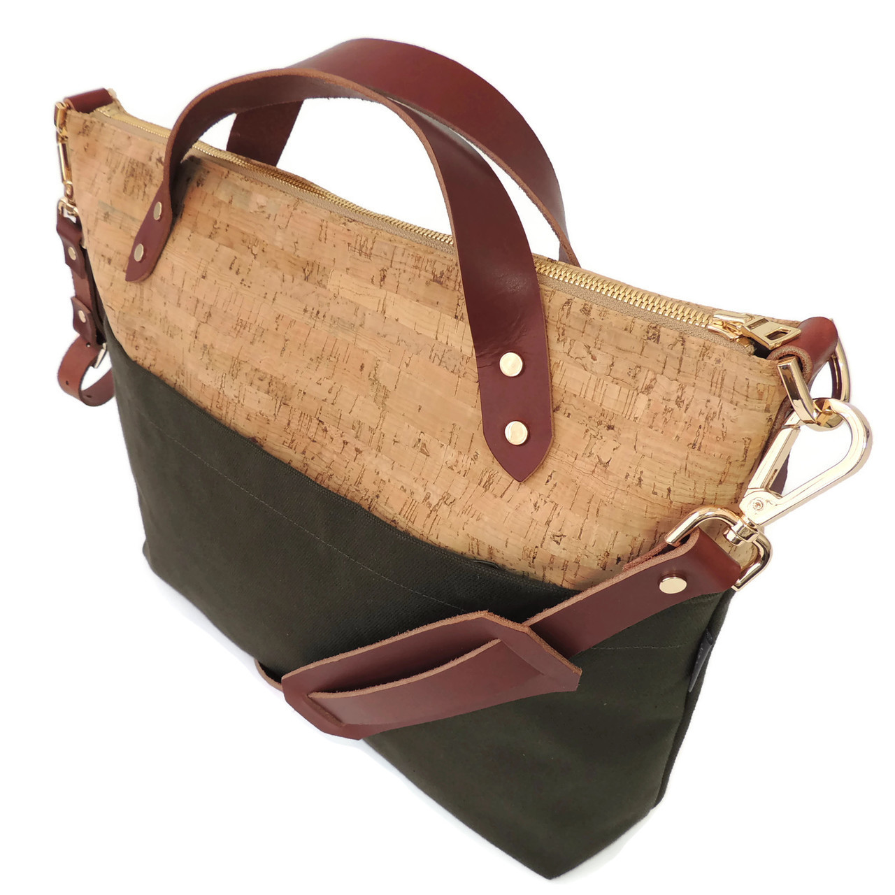 Satchel in Cork Dash with Olive Boot