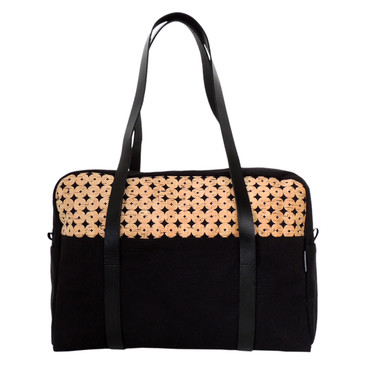 Overnight Bag in Black Cork Dots