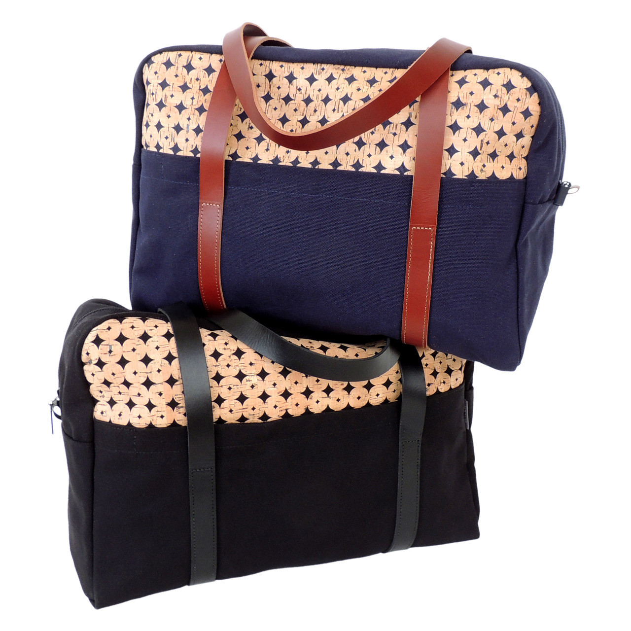Overnight Bags in Black and Navy Cork Dots