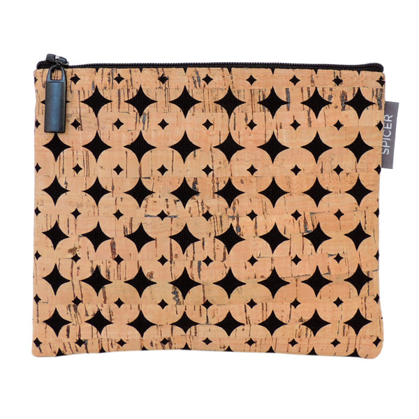 Pouch in Black Cork Dots