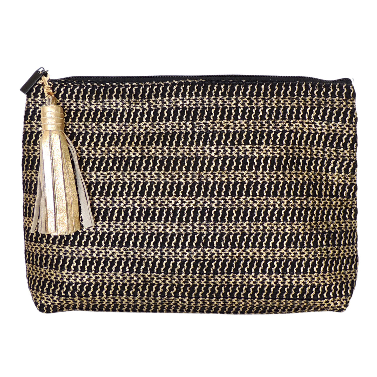 Carryall Clutch in Gold Woven, with tassel