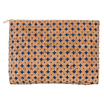 Carryall Clutch in Denim Cork Dots