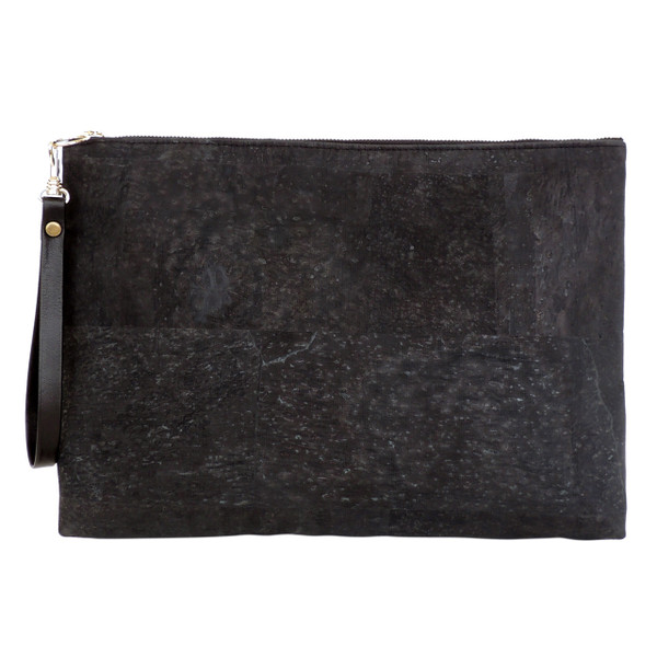 Carryall Clutch in Black Cork- with Wrist Strap