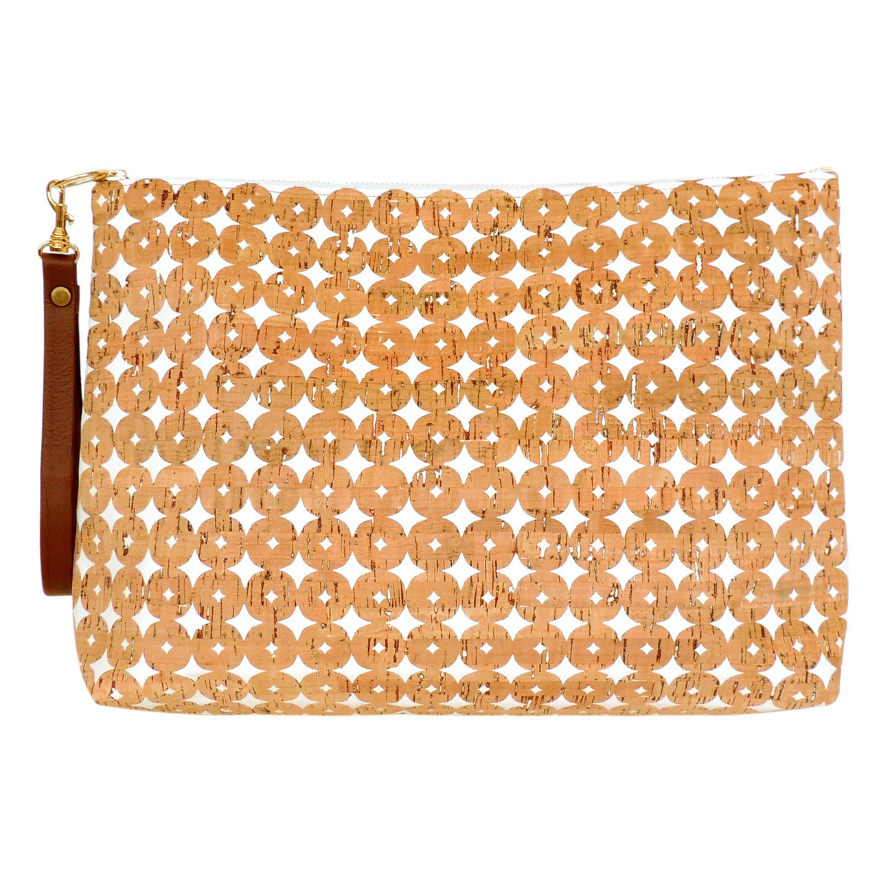 Carryall Clutch in Cork Dots- with Wrist Strap