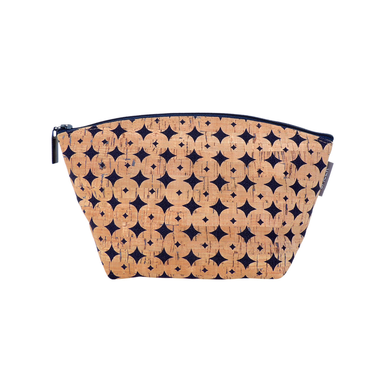 Large Standing Pouch in Navy Cork Dots