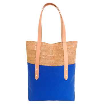 Big Boot Tote in Cork Dash Gold with Bright Blue Canvas