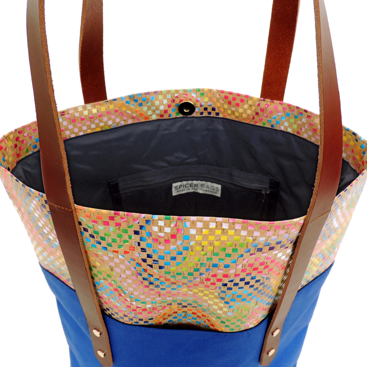 Big Boot Tote in Mosaic Cork with Bright Blue Canvas