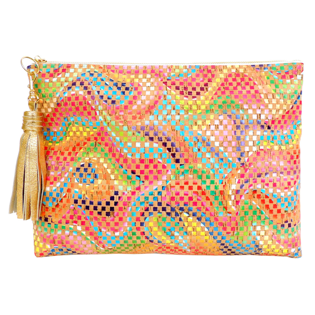 Folio Clutch in Mosaic Cork, with tassel (sold separately)
