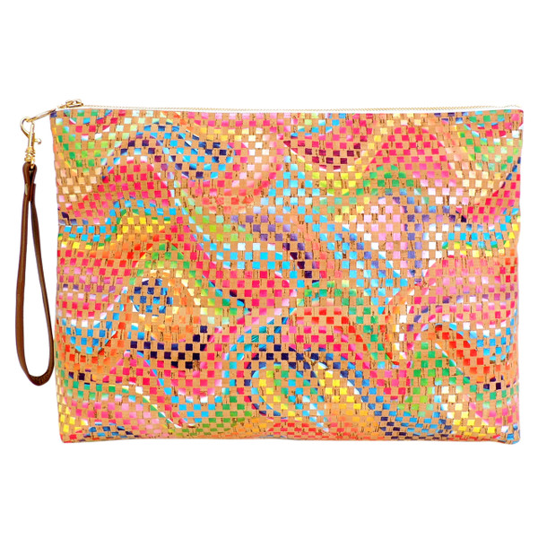 Folio Clutch in Mosaic Cork, with wrist strap