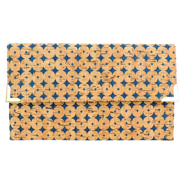 Folio Clutch in Denim Cork Dots