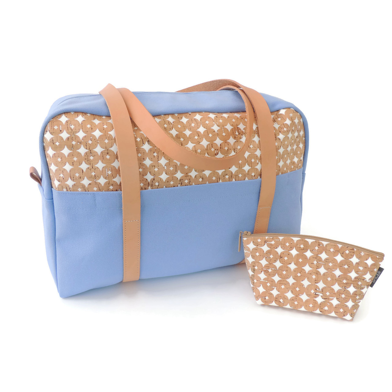 Overnight Bag in Cork Dots and Sky Blue Canvas