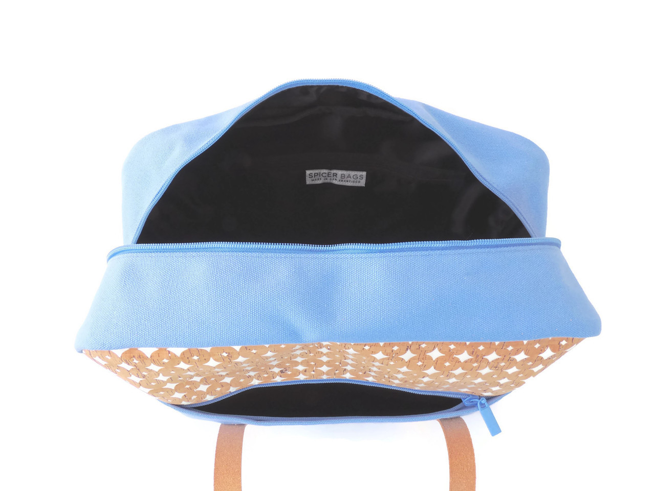 Overnight Bag in Cork Dots and Sky Blue Canvas Interior