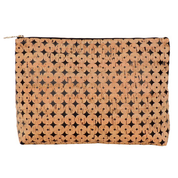 Carryall Clutch in Black Cork Dots