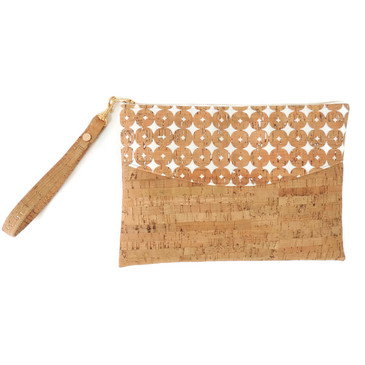 Smile Clutch in Dots and Dash Cork