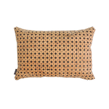 Lumbar Pillow Cover in Black Cork Dots
