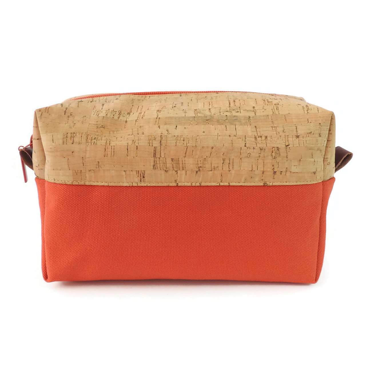Makeup Bag in Cork Dash with Orange Canvas