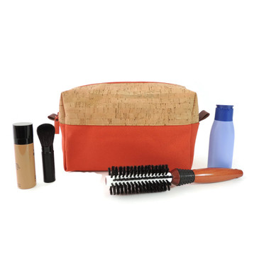 Makeup Bag in Cork with Orange Canvas