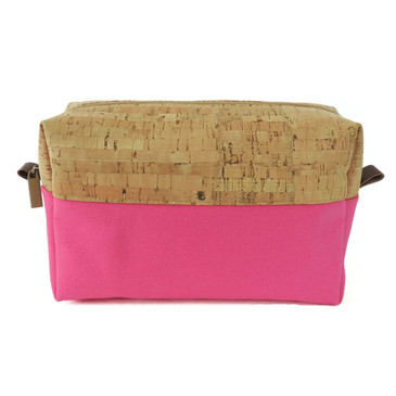 Makeup Bag in Cork with Pink Canvas