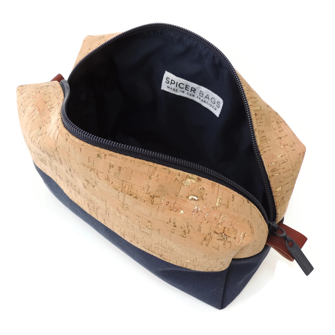 Makeup Bag in Cork with Navy Canvas