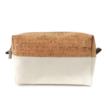 Makeup Bag in Cork with Natural Canvas