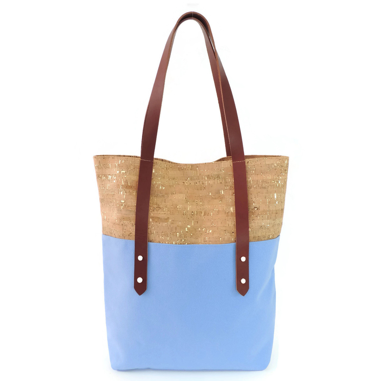 Big Boot Tote in Cork Dash Gold with Sky Blue Canvas