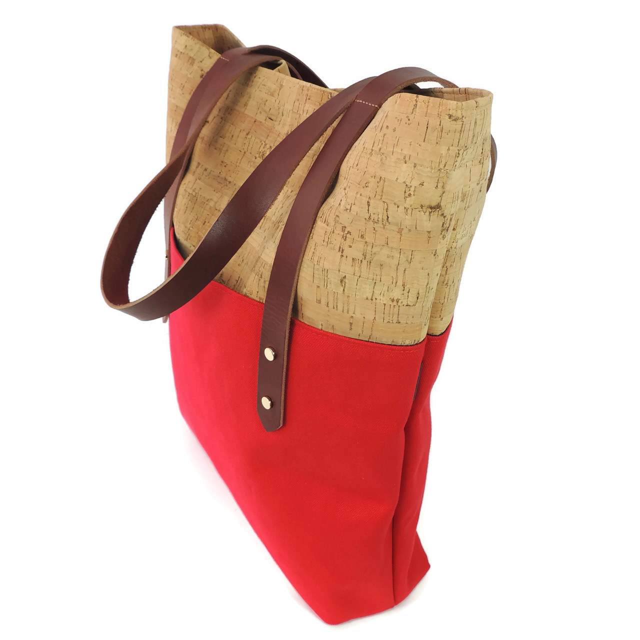 Big Boot Tote in Cork Dash with Red Canvas