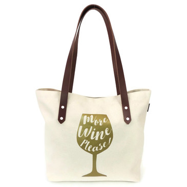 More Wine Please Canvas Market Tote