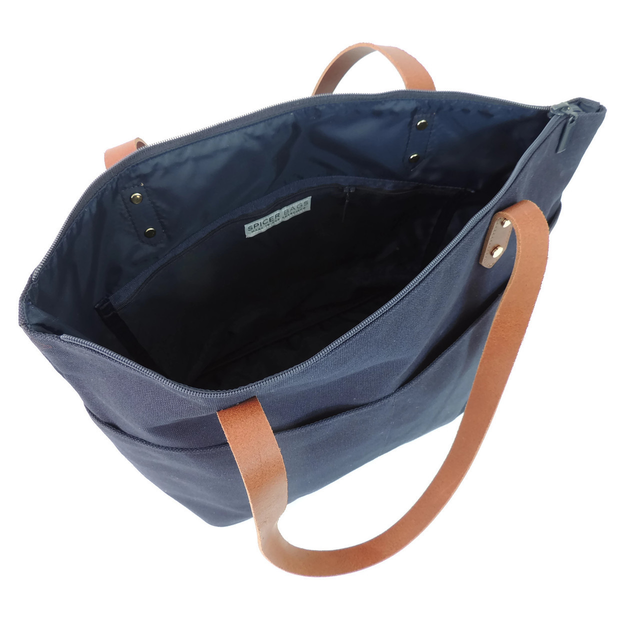 Travel Tote navy interior