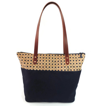 Travel Tote in Navy Cork Dots