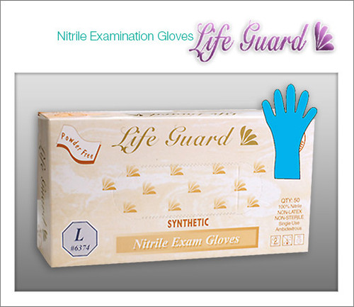 LIFE GUARD Examination Nitrile Gloves - 100% Latex Free - 50 Gloves / BOX