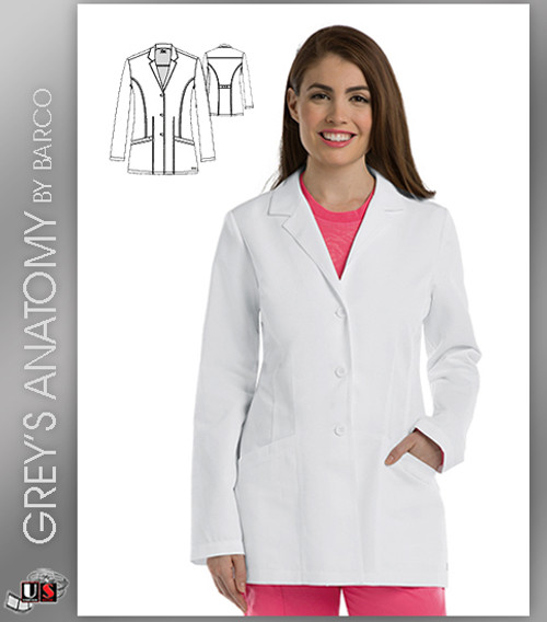 "Greys Anatomy 30"" 4 Pocket  Women's Lab Coat"