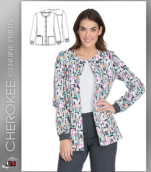 Cherokee Printed Get Up And Geo Women's Snap Front Warm-Up Jacket
