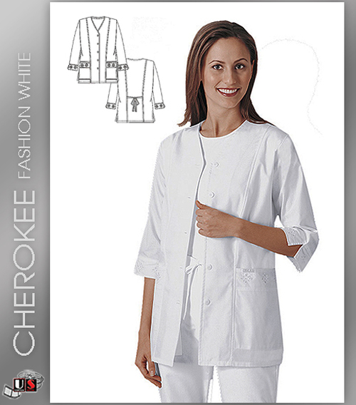 Cherokee Fashion Solid White Women's Eyelet Solid Scrub Jacket