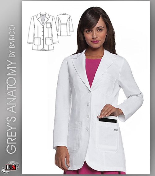 "Greys Anatomy Womens Plain 32"" 3 Pocket Fitted Front Lab Coat"