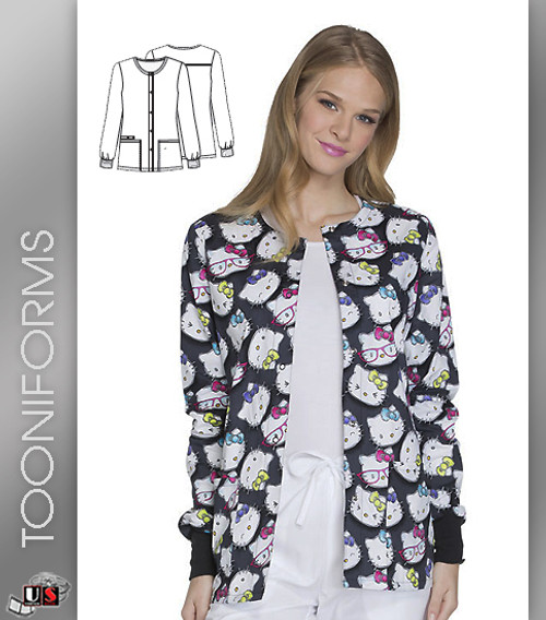 Cherokee Tooniforms Hello Kitty Glasses Snap Front Warm-Up Jacket