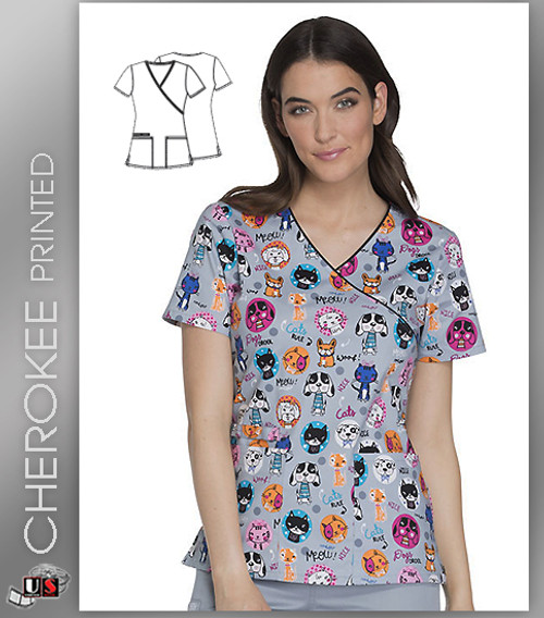 Cherokee Printed From Meow On Women's V-Neck Top