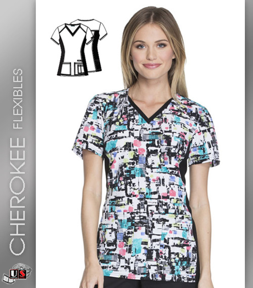 Cherokee Flexibles Block And Roll Women's V-Neck Short Sleeve Top