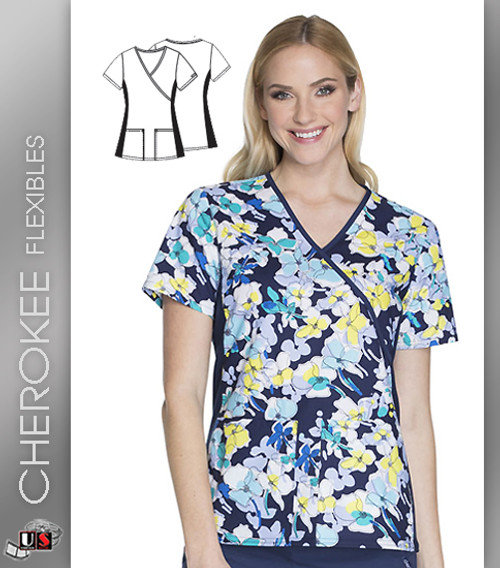 Cherokee Flexibles Floral Outside The Lines Women's V-Neck Short Sleeve Top