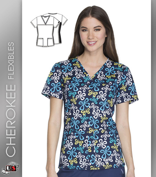 Cherokee Flexibles Put A Wing On It Women's V-Neck Short Sleeve Top