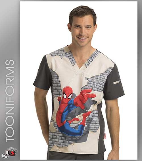 Cherokee Tooniforms Web Crawler Men's V-Neck Short Sleeve Top