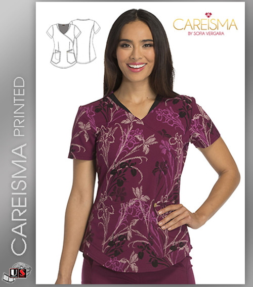 Careisma Printed You're So Vine Women's Mock Wrap Top