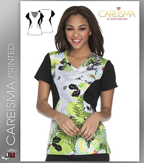 Careisma Printed Tropical Daydream Women's V-Neck Short Sleeve Top