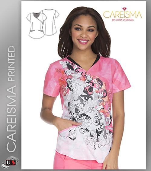 Careisma Printed Women's Let's Take A Scroll Mock Wrap Top
