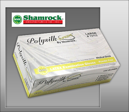 Shamrock Poly Silk Supreme Powder Free, Latex Examination Gloves – Textured - 13000 Series - 100 Gloves / BOX