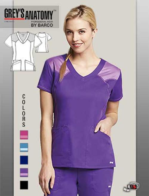 Grey's Anatomy Active Women's 2 Pocket V-Neck Mesh Scrub Top
