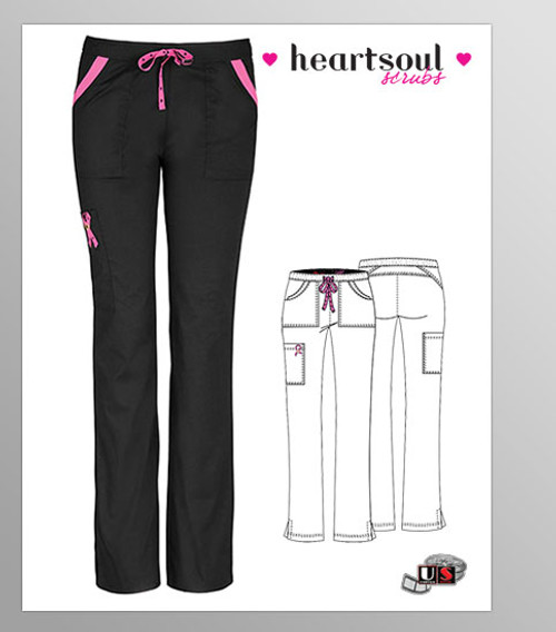 """HeartSoul Breast Cancer Awareness """"Charmed"""" Low-Rise Drawstring Cargo Pant - Black"""