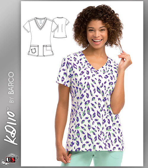 KD110 BY Barco Aloha Cat Two Pockets V-Neck Print Scrub Top