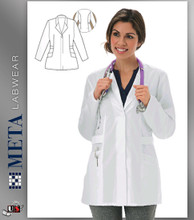 "835 Meta Ladies 30"" Stretch White Labcoat"